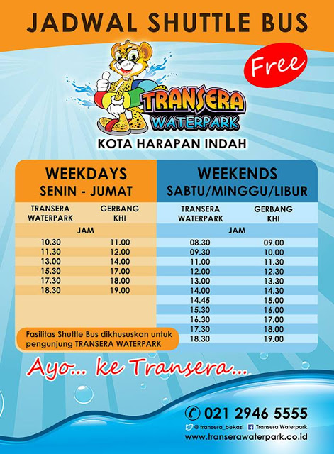 Jadwal shuttle bus Transera Waterpark