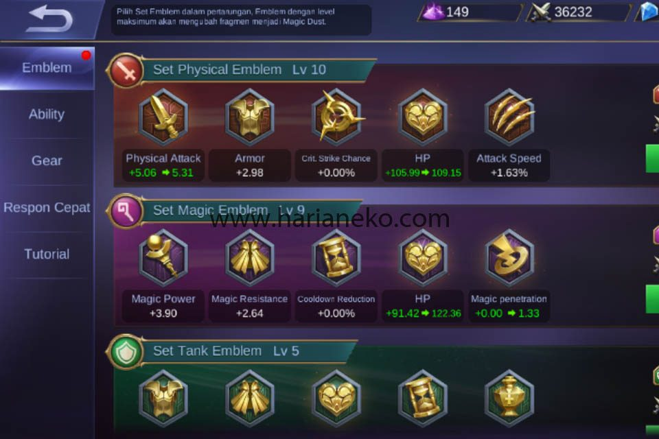 Jangan lupa upgrade Emblem Mobile legends